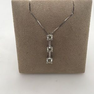 "Jewelry - 14K White Gold Diamond ""Journey"" Pendant w/ Chain"